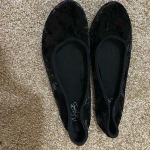 velvet black flats